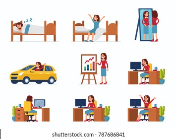 Business woman work day scenes. Flat style vector illustration isolated on white background.