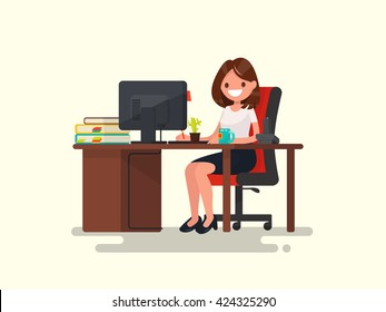 Business woman at work. Office worker woman behind the a work desk. Vector illustration of a flat design.