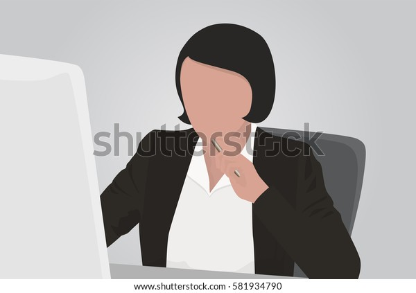 business woman working at a computer