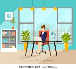 Business woman working at her office. Vector flat style illustration