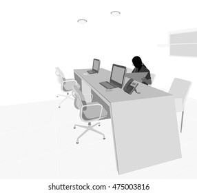 Business woman working on desk vector silhouette people scene on a white background