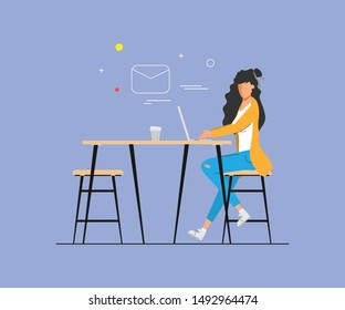 Business woman working on a laptop computer. Administration at office desk. Business people character. Animation scene for motion graphic.