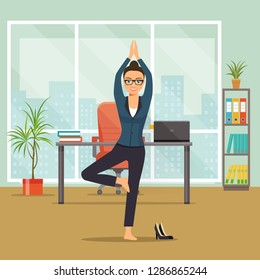 Business woman  in yoga tree pose  at her office. Vector flat style illustration