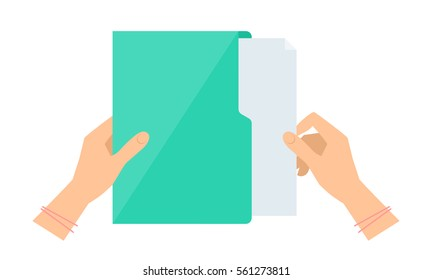 Business woman's hand takes out a document sheet from green folder. Flat concept illustration of office supply. Isolated on white workspace accessory. Vector infographic element for web, presentation