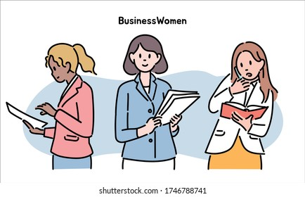 Business women busy working. hand drawn style vector design illustrations.