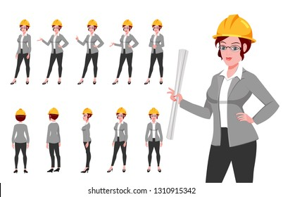 Business women Character turnaround and presentation poses