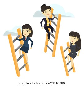Business women climbing the ladders. Business women climbing on cloud. Business women climbing to success. Business competition concept. Vector flat design illustration isolated on white background.