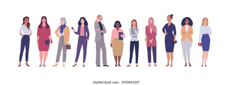 Business women collection. Vector illustration of diverse multinational standing cartoon women in office outfits. Isolated on white.