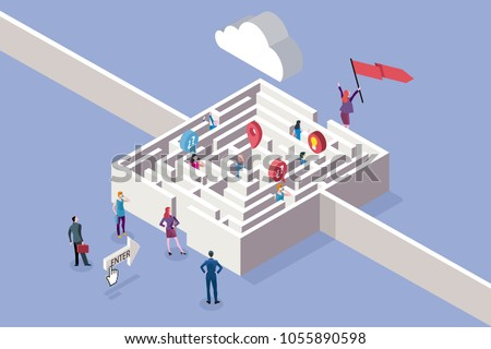 Business Women and Maze Concept. 