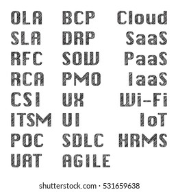 IT Business Word with Scribble effect - Service management, Software development, Clound computing