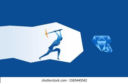 Business work concept illustration about hard work businessman digging diamond treasure profit
