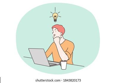 Business, work, success, thought, problem, brainstorm concept. Smart happy businessman genius cartoon person having idea. Intelligence mind and goal achievement successful solution illustration.