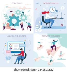 Business Workflow Flat Cards Set. Working Process, Team Work, Analysis and Statistic, Forward to Success Lettering. Project Management, Office Communication, Workflow, Consulting Vector Illustration