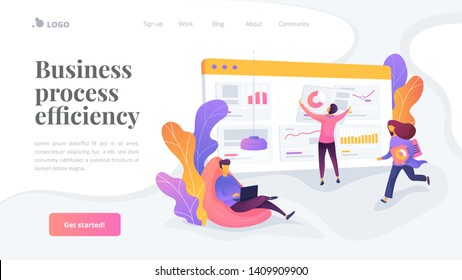 Business workflow, business process efficiency, working activity pattern concept. Website interface UI template. Landing web page with infographic concept creative hero header image.