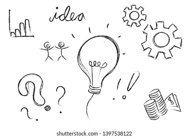 business workflow work in progress processing steps development drawing questions ideas to production realisation isolated on white background
