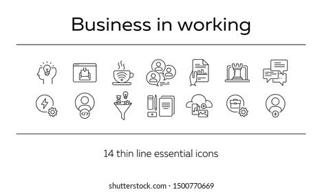 Business in working icons. Set of line icons. Brainstorming, inspiration, developer, company branding. Business concept. Vector illustration can be used for topics like planning, strategy, marketing