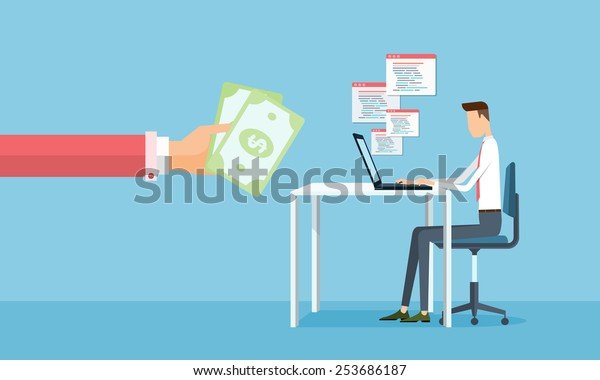 business working and making earnings from business on line .people business cartoon character