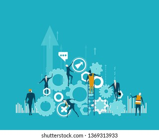 Business and working people building the business together. Pile of gear as symbol of business and big company. Business and working together concept illustration.