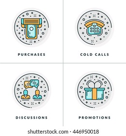 Business and Working. Set of four icons on purchase, cold calls, discussions, promotions. Colored in gray, orange and blue flat vector illustrations.