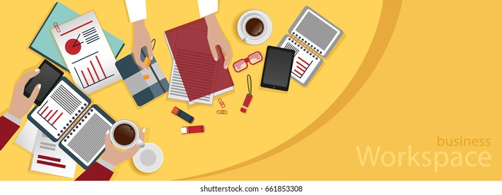 Business workplace. Team work. Hands holding phone, coffee cup. Documents, paper, notepads,around the workplace.Data analysis, financial report.Flat design illustration. Gray, red,yellow blue colors.
