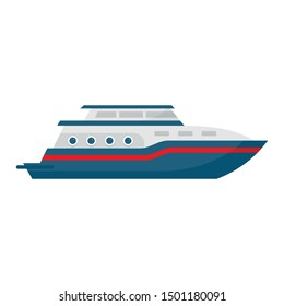 Business yacht icon. Flat illustration of business yacht vector icon for web design