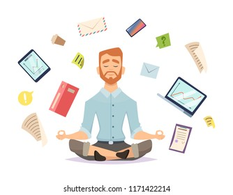 Business yoga concept. Office zen relax concentration at workspace table yoga practice vector illustration. Business concentration yoga, meditation zen pose