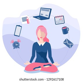 Business yoga concept. Office zen relax concentration at workspace table yoga practice vector illustration. Business concentration yoga, meditation zen pose. Business woman sitting and meditating.
