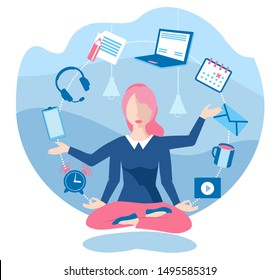 Business yoga concept. Young Woman sitting at home on the floor  and reading a book. Office zen relax concentration at workspace table yoga practice vector illustration.
