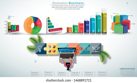 Businesslady Brainstorming,Contact communicate use Laptop with graph, Jigsaw,Paper rocket fold,icon,Infographic template.