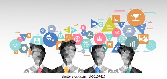 Businessman 4 people  Brainstorm and  Geometry, Colorful, icon - modern Idea and Concept Vector illustration Business.