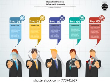 Businessman   5  person and  A hand holding Light bulbs,Magnifying glass,Cog,Magnet, -  modern Idea and Concept Vector illustration Business with Speech bubbles  5 Step