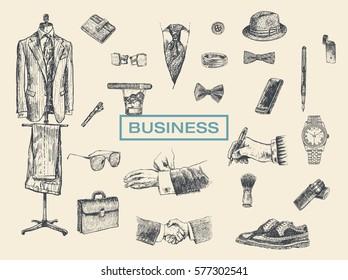Businessman accessories hand drawn set. Suit, briefcase, cufflinks, pouch, tie, ring, tie clip, sunglasses, bow-tie, fountain pen, wristwatch, smartphone, brogues, cigars, shaving brush, fedora hat