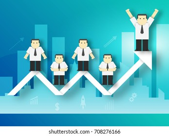 The Businessman achieved the Goal Paper Origami Crafted Concept. Business Cutout Made Template with Elements, Symbols, Icons for Banner, Card, Poster. Vector Illustrations Art Design.