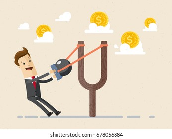 Businessman aiming with a slingshot  to money.   Business and finance concept. Vector, illustration, flat