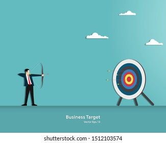 Businessman aiming target with bow and arrow. Many arrows missed hitting target mark. Multiple failed inaccurate attempts to hit archery target. Vector illustration flat design