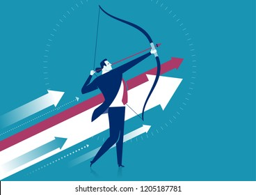 Businessman aiming the target. Concept business vector illustration