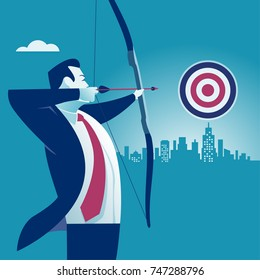 Businessman aiming target. Concept business vector illustration.