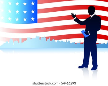 Businessman with American Flag Background Original Illustration