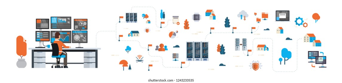 businessman analytic monitor graph over data network flowchart server map isometric cloud storage synchronization concept horizontal banner flat isolated