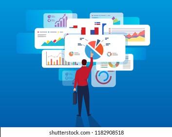 Businessman analyzes page data