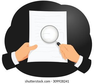 Businessman is analyzing document using magnifying glass to check small text
