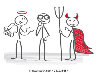 Businessman with angel and demon coach