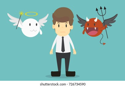 Businessman with angel and devil on his shoulders.Cartoon of business success is the concept of the man characters business, the mood of people, can be used as a background,banner.illustration vector