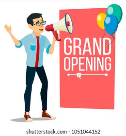 Businessman Announce Concept Vector. Screaming Announcement Banner Design. Man With Megaphone. Grand Opening. Search For Employees. Promotion Illustration