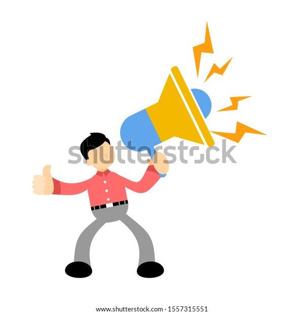 businessman announce loud speak flat design illustration