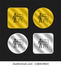 Businessman in apresentation with a graphic on a board gold and silver metallic coin logo icon design