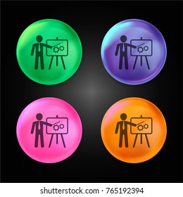Businessman in apresentation with a graphic on a board crystal ball design icon in green - blue - pink and orange.
