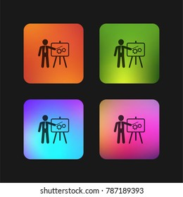 Businessman in apresentation with a graphic on a board four color gradient app icon design