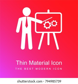 Businessman in apresentation with a graphic on a board red and pink gradient material white icon minimal design