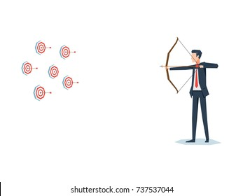 Businessman with archer bow with multiple targets